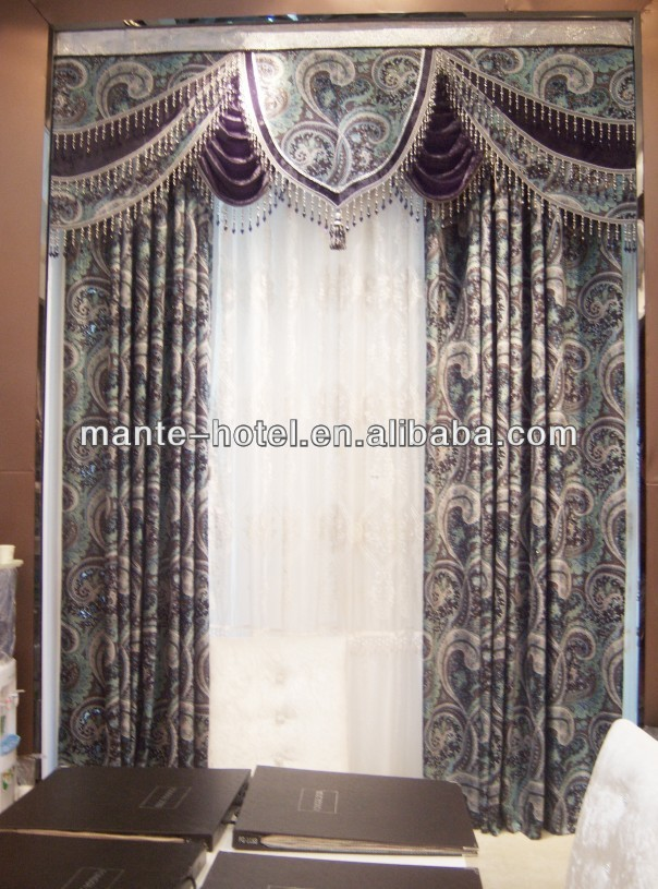 2013royal design hotel/home embroidery polyester and cotton curtain