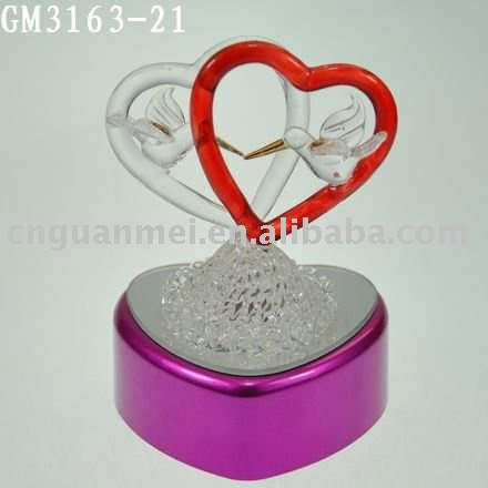 Wholesale LED valentine glass heart gifts with bird couple