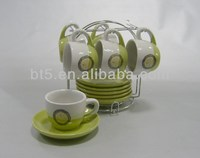 6sets double glazed ceramic coffee mugs set with logo and rack