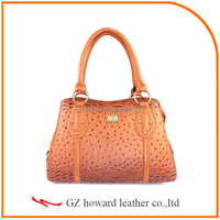 Superior quality ostrich grain pu leather women handbag for wholesale