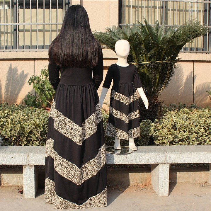 Fashion design muslim long dress chiffon for mother and daughter