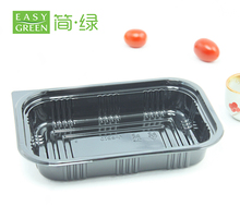 Popular Black Rectangular Salad Container J-8510 disposable plastic bento with lids lunch box black packaging