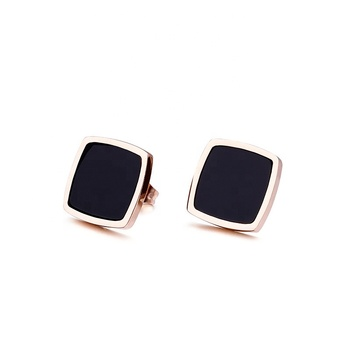 Classic Square Shaped Cheap Stainless Steel Women Black Earrings Rose Gold Studs