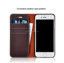 Alibaba Express China High-class Top Genuine Leather Stand Cover Wallet Phone Case For iphone 7 Leather Case