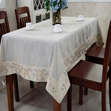 Wholesale high quality thick linen fabrics Indonesian style dining table cover
