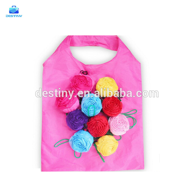 popular multicolor pull string roses folding textile shopping bag