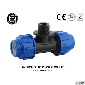 PP compression quickly connection plastic pipe fittings female tee/Irrigation hose fittings