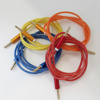 Colorful Bling Bling Audio 3.5 mm Male To Male Car Aux Cable PVC Metal Shell Cable