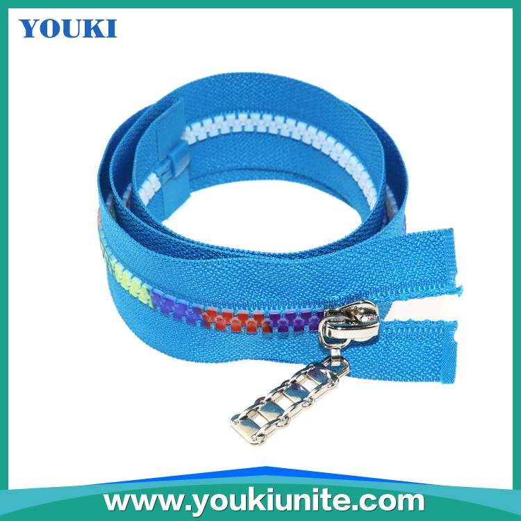 5# Woven Tape Plastic Zipper O/E, A/L, With Rainbow Teeth YKP-2025