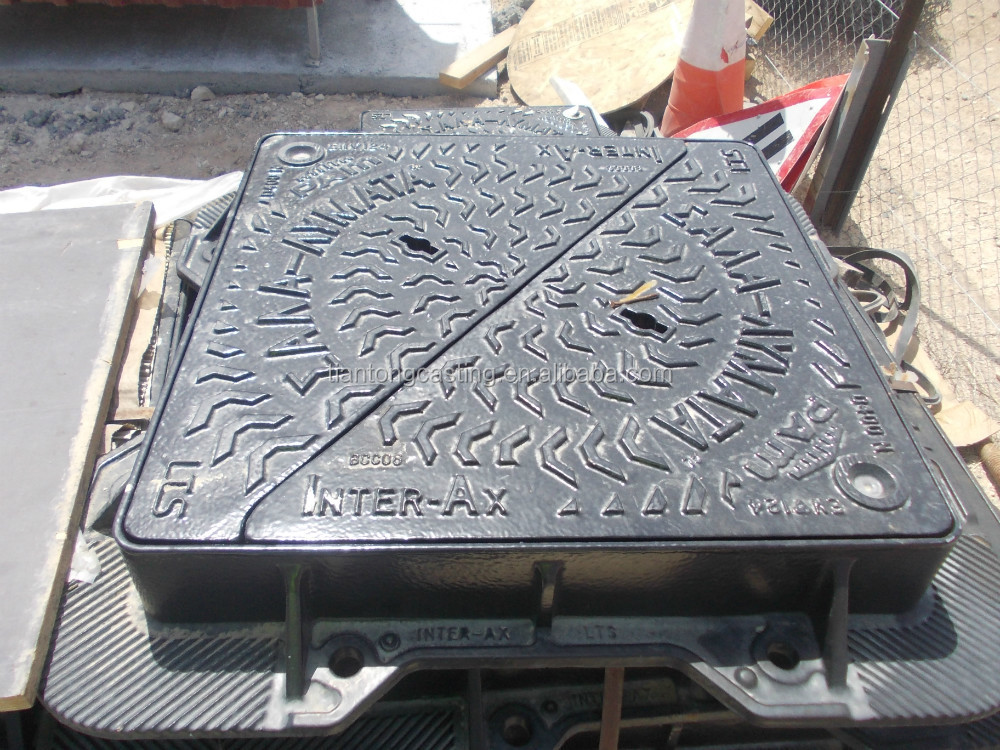 En124 D400 ductile iron manhole cover with grp sealing plate