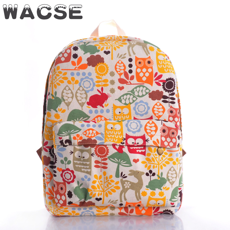 new trendy clear owls printing canvas back packs for school