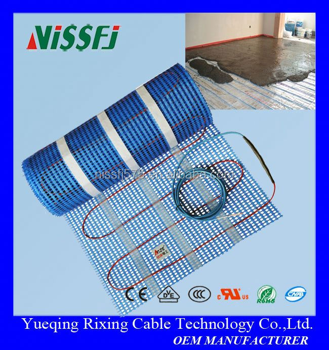 Electric radiant underfloor tile floor heating mat for heating system