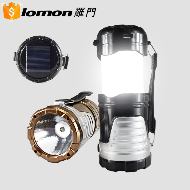 6 In 1 Wholesale Logo Branding Hanging Usb Flashlight Lantern Rechargeable Led Camping Solar Lantern