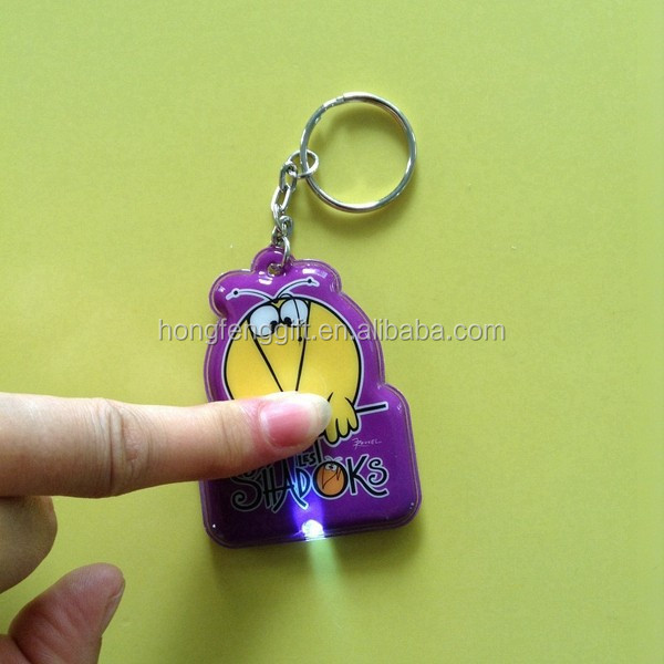 high quality pvc light keyring led / custom printed pvc led keychain / key holder
