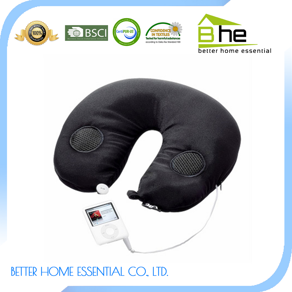 Speaker Travel Pillow with U-shape neck pillow filled with polystyrene beads