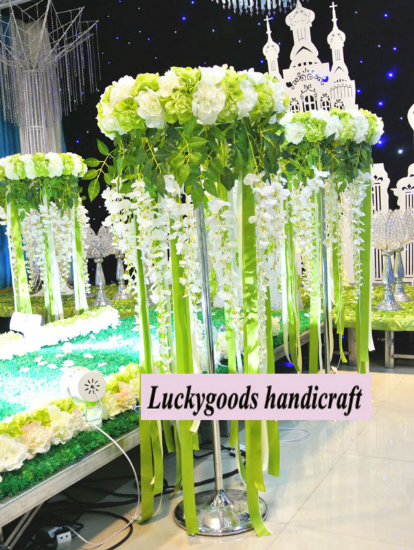 wedding display green and white artificial tall flower stand, View ...