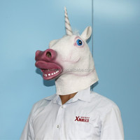 2015 Top Sale Unicorn Horned Horse Head Mask Creepy Halloween Costume Prop Latex Theater Gag