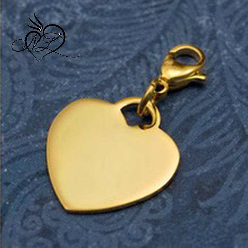Personalized Gold Plated Stainless Steel Heart Charm on Lobster Clasp 3/4 Inch