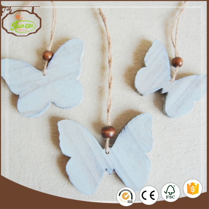 Butterfly shaped laser cut plywood wooden hanging ornaments