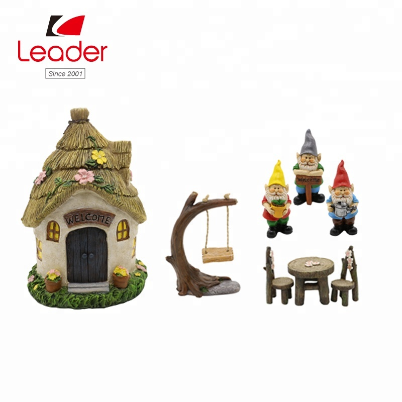 Factory direct set of 8 polyresin mushroom house miniature kit, miniature fairy garden accessories