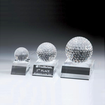 Wholesale crystal glass golf trophy in simple design for sports anniversary