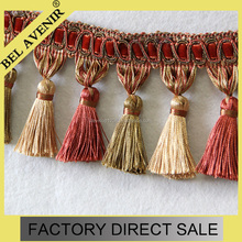 Maroon beautiful curtain tassel fringe trimming for garment,curtain,sofa,and valance decoration