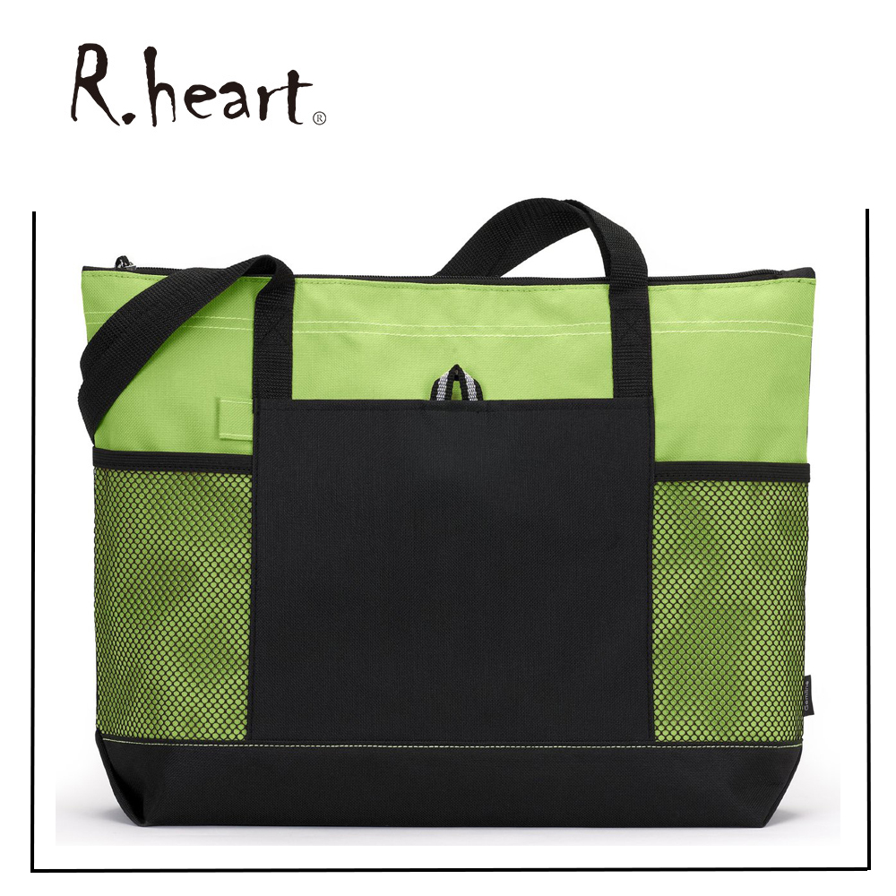 Bulk Zippered Tote Bag With Mesh pocket and high quality.OEM order are provided.
