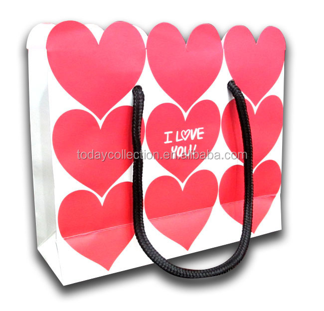 double side printing die cut heart shape valentine gift bag