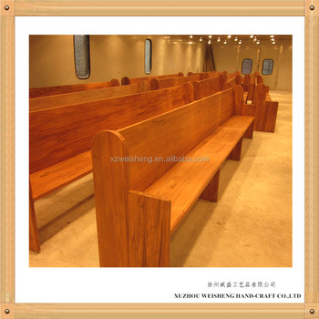 Simple design Oak Church bench with Armrests WCP001