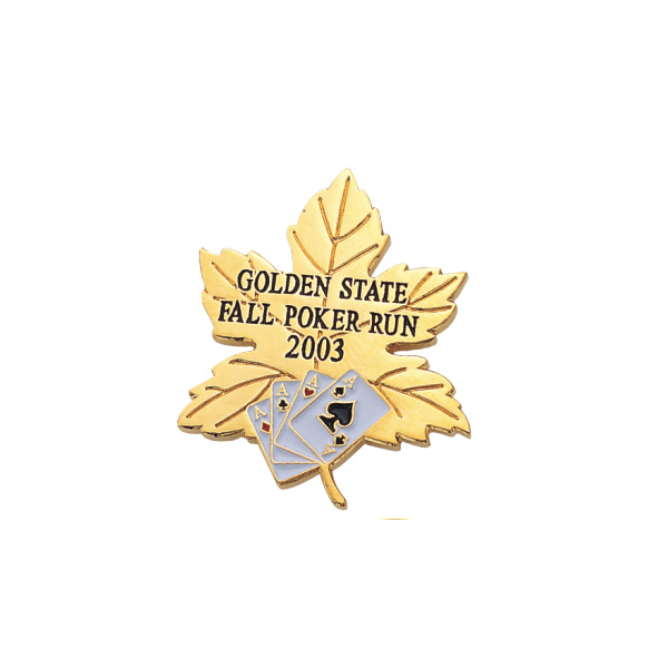 Custom metal maple leaf and playing card soft enamel lapel pin