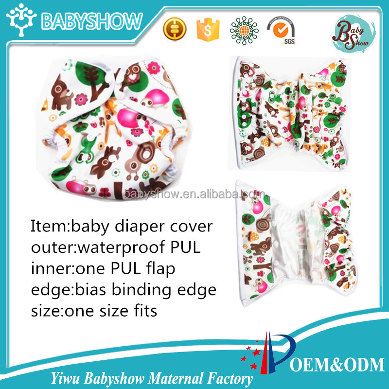 new arrival waterproof PUL pororo baby cloth diaper cover with PUL flap at each end,washable reusable cloth nappy cover