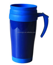 BPA free 16oz double wall plastic mug with handle and lid