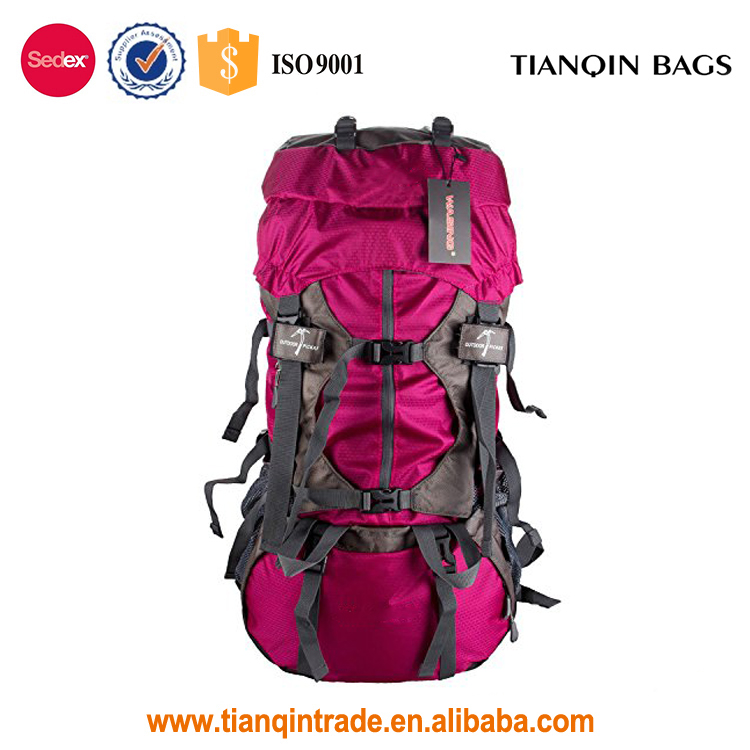 Large Capacity Outdoor Rose Red polyester Travel Backpack with Rain Cover for Hiking, Climbing