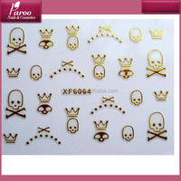 new skull Design Style Metallic gold gel Nail decal Sticker