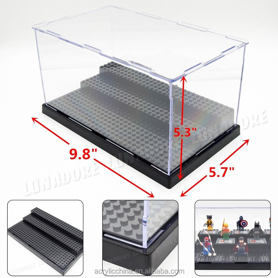2015 fashion plexiglass/lucite acrylic lego mini figure display case