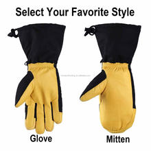 Hot Sales Personalized Heated Snowboard Gloves Warm Winter Leather Yellow Ski Gloves