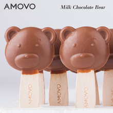 AMOVO wholesale bear shaped handmade milk lollipop candy and chocolate