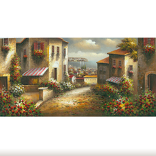 Stretched Wall Hanging Picture Handmade Decoration Mediterranean Painting