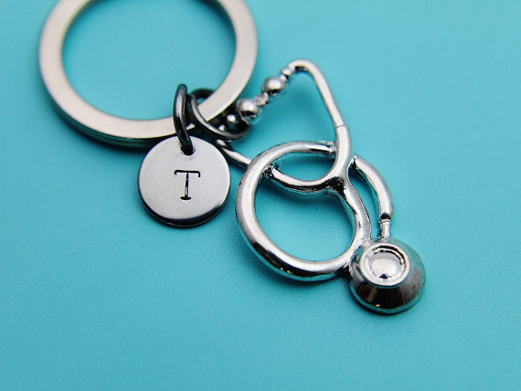 Promotion new products silver plated stethoscope keychain for Medical