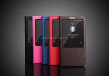 Microfiber leather slim window models - with Sleep case for huawei mate 7/filp leather slim window models case for huawei mate7
