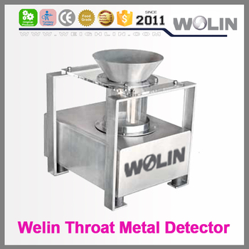 Welin Latest auto throat hole type metal detector inspecting machine for bulk rice, sugar, powder, nuts, medicine, granules