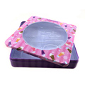 SGS approved square cosmetic tin box with window
