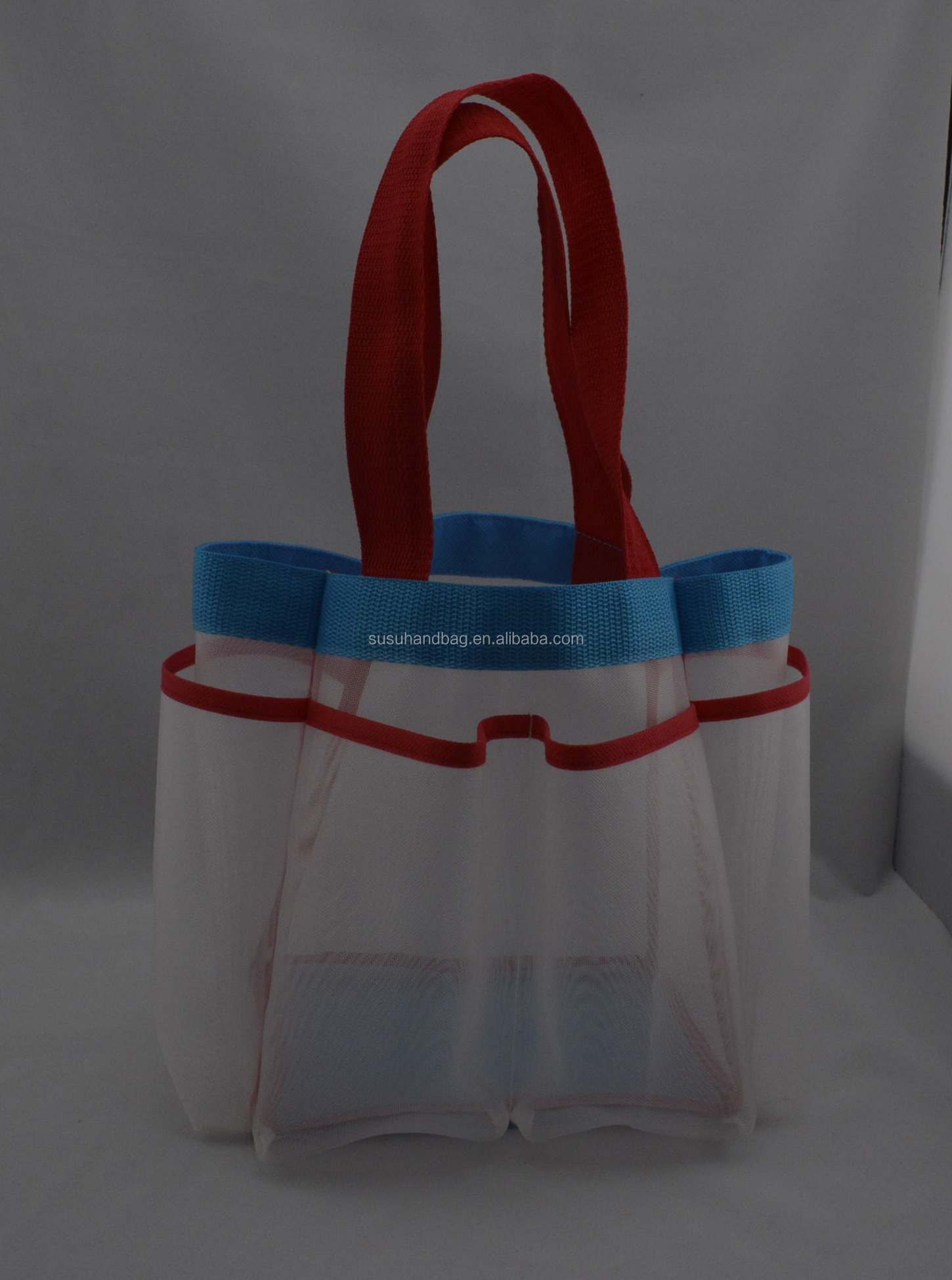 Handled Large Compartments Nylon Mesh Shower Tote Bag