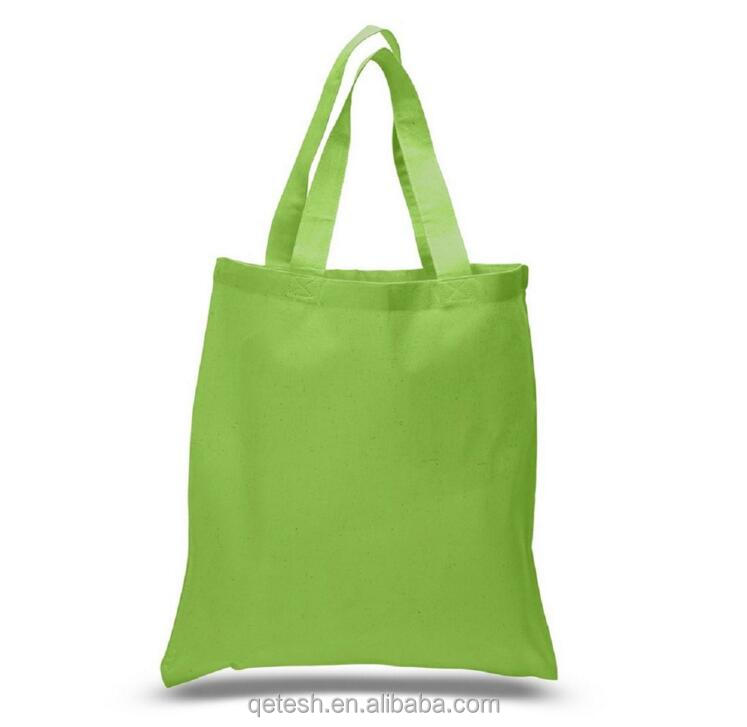 2018 Custom Printed Green Promotional Tote Cotton Fabric Shopping Bag