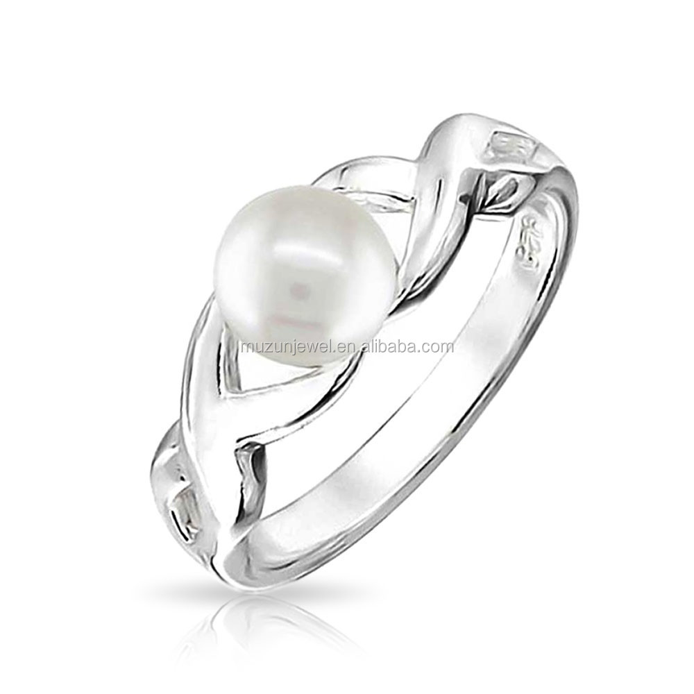 Figure infinity white freshwater pearl 925 Sterling silver ring