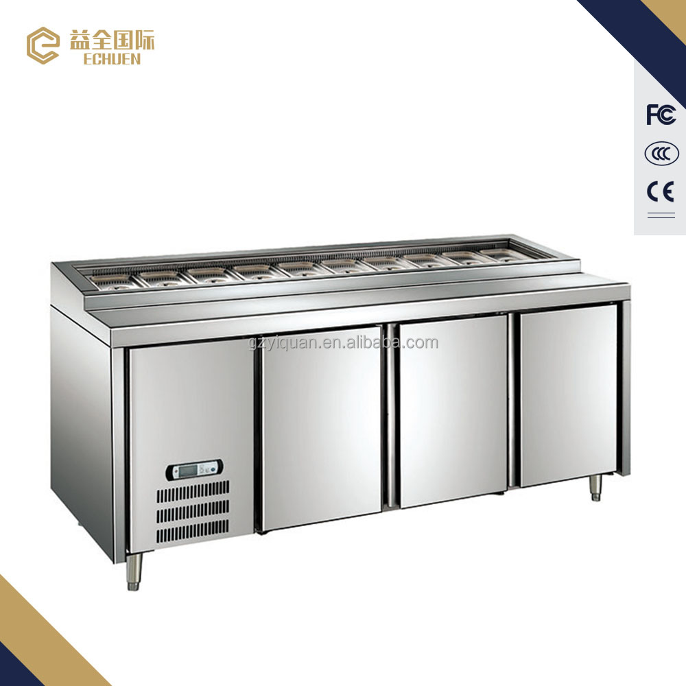 Hot selling stainless steel pizza refrigerator/pizza worktop refrigerator/pizza counter refrigerator