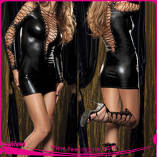 Side Grommeted Tight Fitting Satin Mini Dress