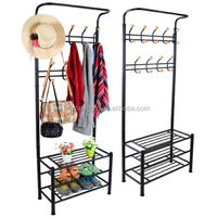 Multi-functional Metal Clothes Coat Shoes Storage Shelf Rack Stand