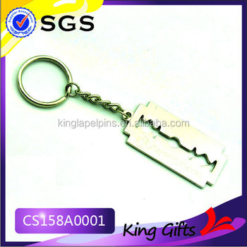 Custom die cut razor blade shaped metal key chain