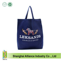 Cheap Organic Cotton Blue Tote Bag With Customed LOGO,Women Portable Cotton Shopping Bag